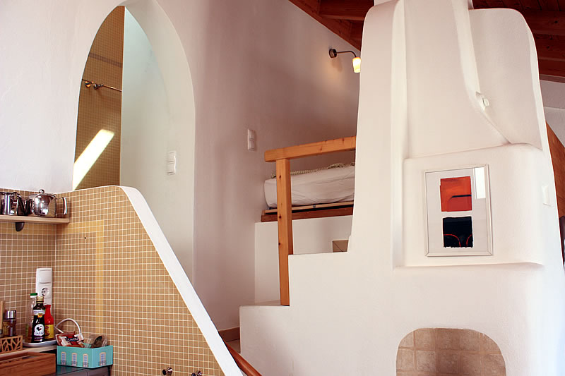 Stairs to bathroom and loft