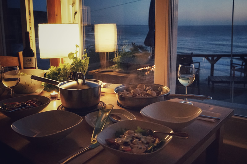 Seafood dinner in Dream View House with ocean view